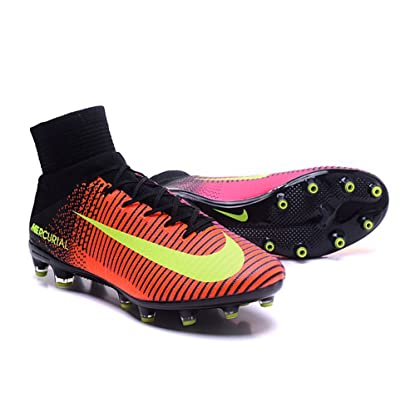 Men's Mercurial XI Superfly V AG-Pro With ACC Orange-Pink High Top Football Shoes Soccer Boots