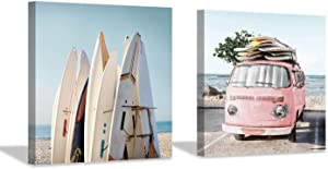 """Beach Picture Coastal Art Painting: Surfboard & Pink Car Ocean Wall Art on Canvas for Bedroom Bathroom (12"""" x 12"""" x 2 Panels)"""