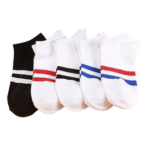 fletion Mujer Algodón Calcetines Calcetines de rayas calcetines Zapatillas de béisbol Shallow boca Calcetines Calcetines invisibles