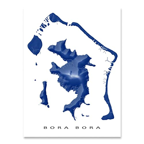 Amazon.com: Bora Bora Map Art Print, French Polynesia Islands ...