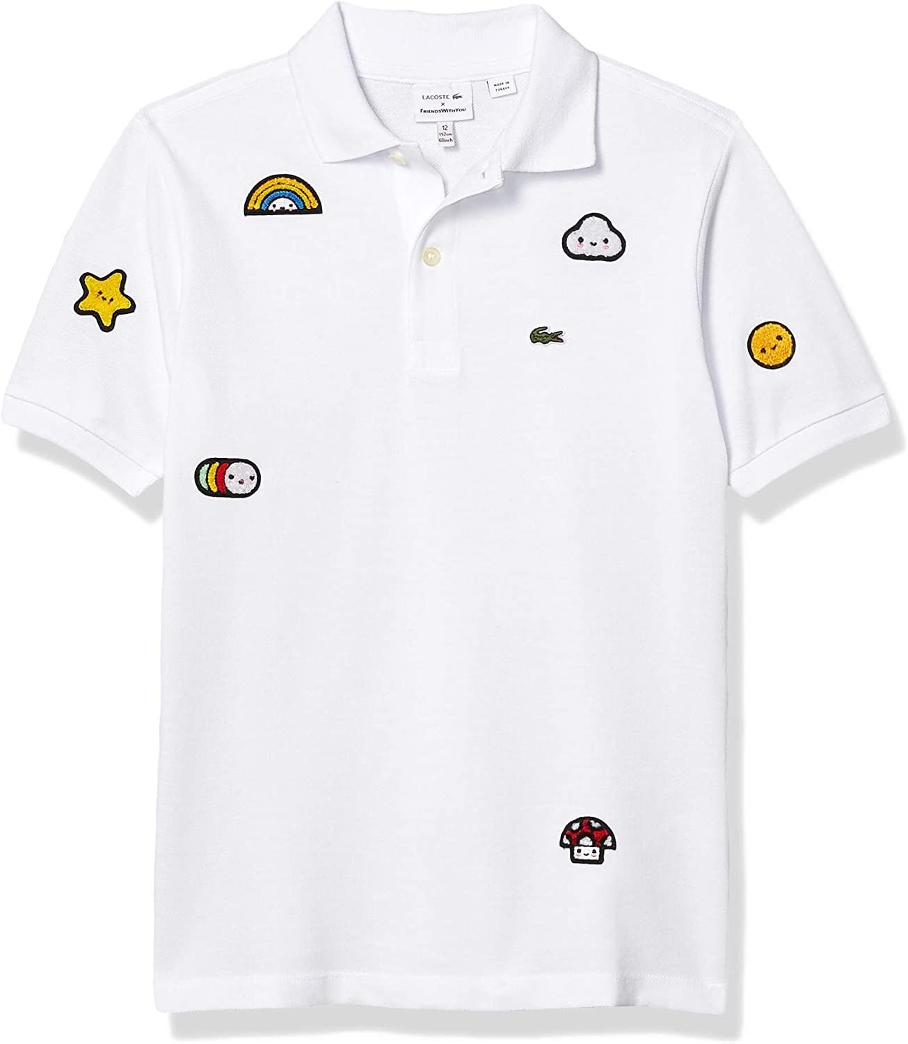 Amazon Com Lacoste Boys Crocoseries Friends With You Allover Graphic Polo Clothing