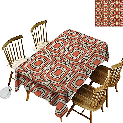 DONEECKL Geometric dust-Proof Tablecloth Daily use Squares and Rhombuses with Bullseye Pattern Abstract Warm Colored Shapes Burnt Sienna Beige W70 xL102