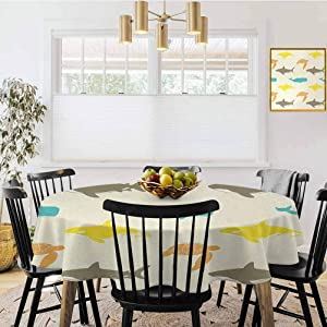 """Home & Kitchen,Diameter 60"""",Sea Animals,Pattern with Whale,Shark and Turtle Aquarium Doodle Style Marine Life,Ivory Taupe Peach,Round Tablecloth Indoor Kitchen Table Cover"""