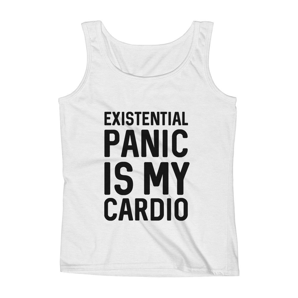 Mad Over Shirts Existential Panic is My Cardio Unisex Premium Tank Top