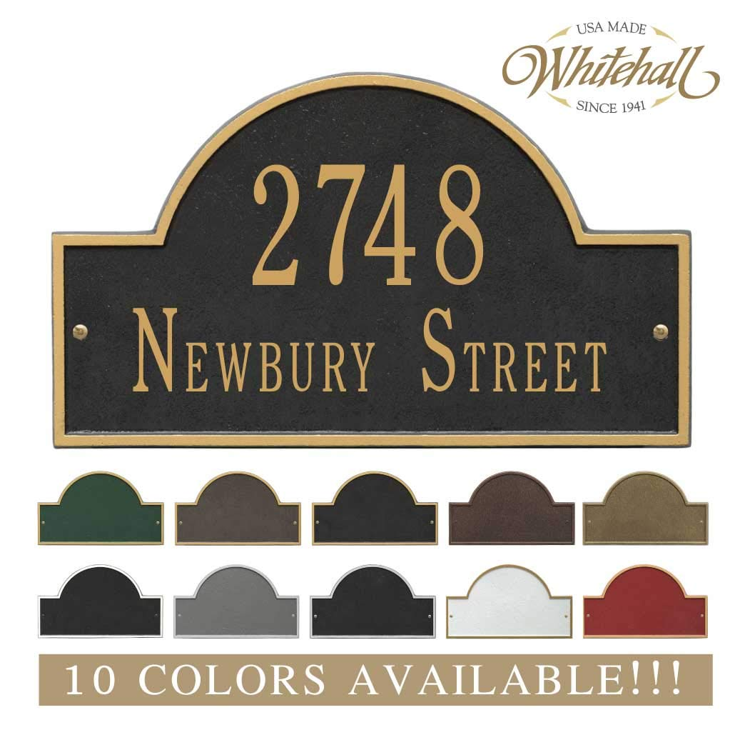 Metal Address Plaque Personalized Cast with Arch top (Large Option). Display Your Address and Street Name. Custom House Number Sign. Whitehall