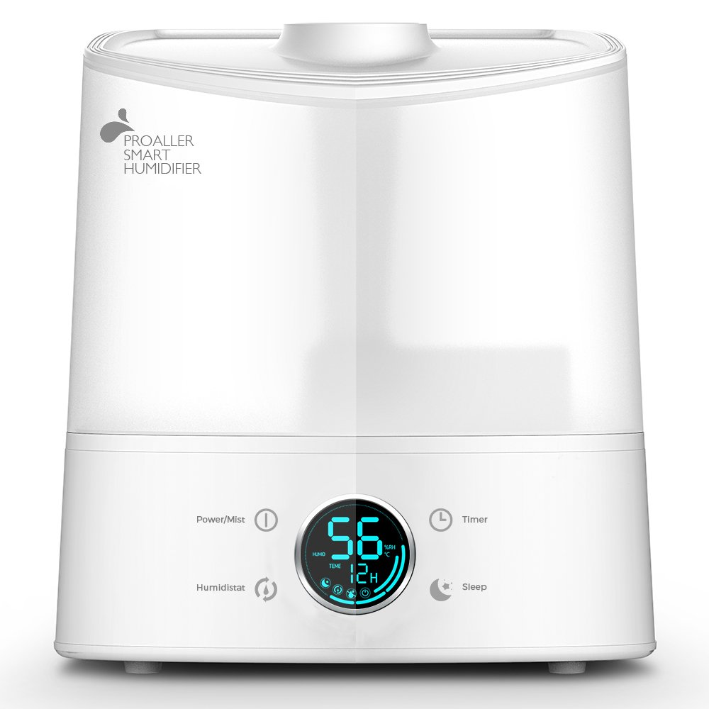 Humidifier, 6L/1.6 Gal Air Ultrasonic Cool Mist Humidifier for Baby, Kids, Whisper Quiet, Sleep Mode, Timer, Auto-Humidistat, Auto-Off, XL, PROALLER