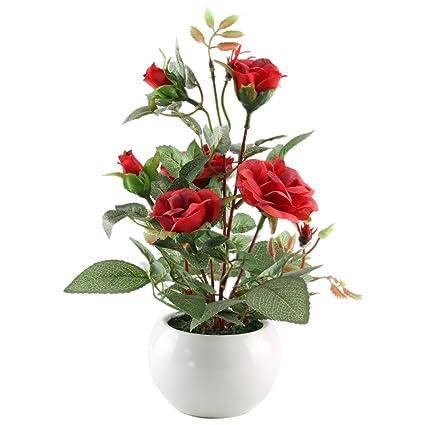 Mihounion Artificial Planta De Rosas Roja De Tela Arreglo De Flores Macetas De Flores Artificiales Decoración De Escritorio Para El Hogar Con Jarrón