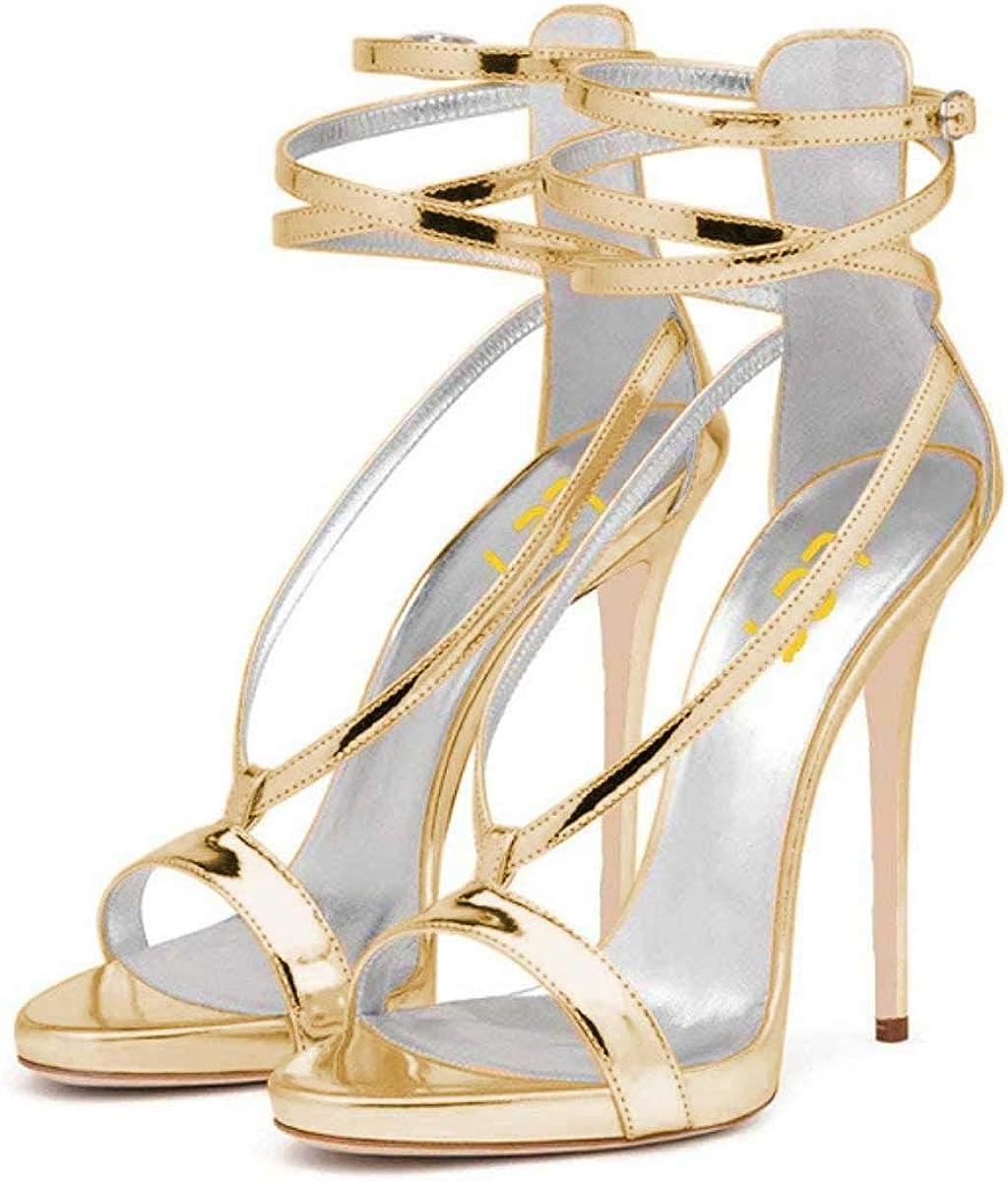 FSJ Sexy Strappy Sandals for Women Open New popularity Toe Metallic Popular product Heels High