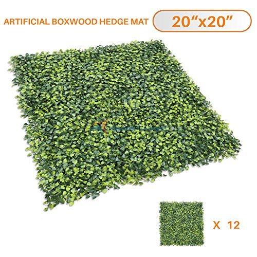 Sunshades Depot Artificial Boxwood Fence Privacy Screen, Evergreen Hedge Panels Fake Plant Wall 20''x20'' (12pcs)