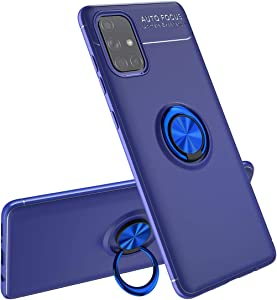 Samsung Galaxy A71 5G Case,ZYZX 360°Metal Rotating Ring Kickstand Holder Built-in Magnetic Car Mount Armor Cover for Samsung Galaxy A71 5G,JSHK Dark Blue