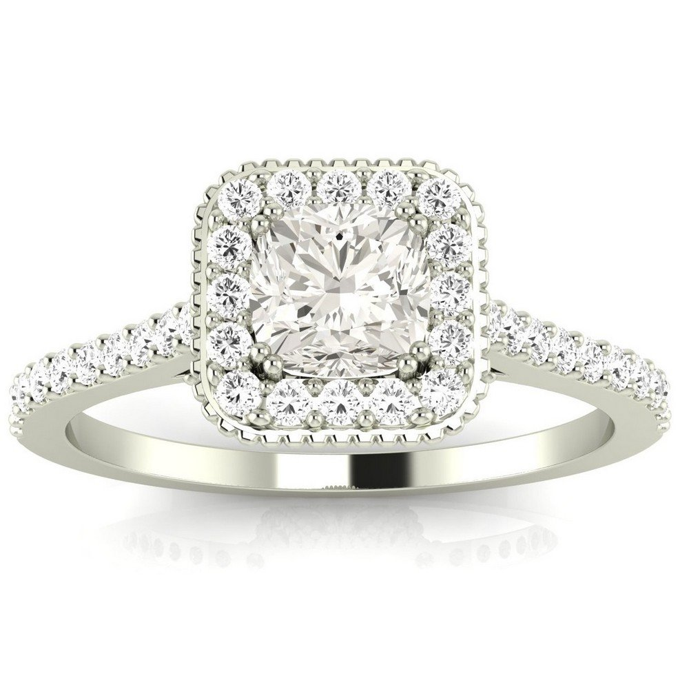 0.85 Ctw 14K White Gold GIA Certified Cushion Cut Stunning Vintage Halo Style Diamond Engagement Ring With Milgrain, 0.5 Ct G-H VS1-VS2 Center by Diamond Manufacturers USA