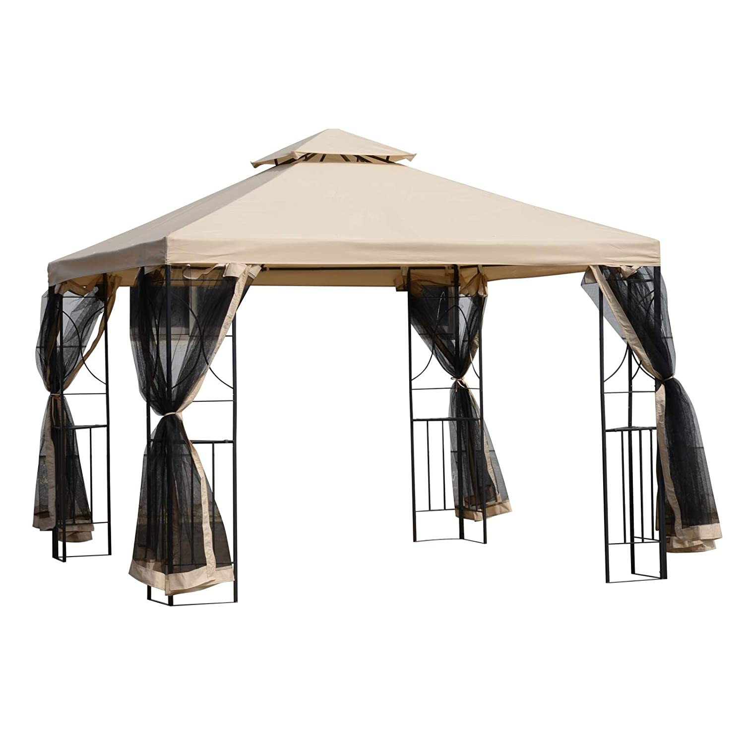 Sand Outsunny 10 x 10/' Steel Fabric Square Outdoor Gazebo with Mosquito Netting