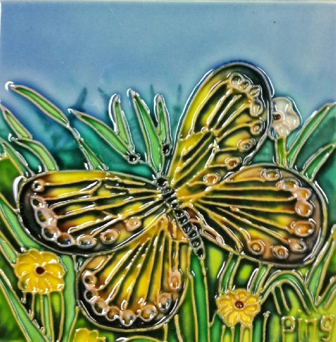 Continental Art Center SD-043 4 by 4-Inch Butterfly Set Ceramic Art Tile