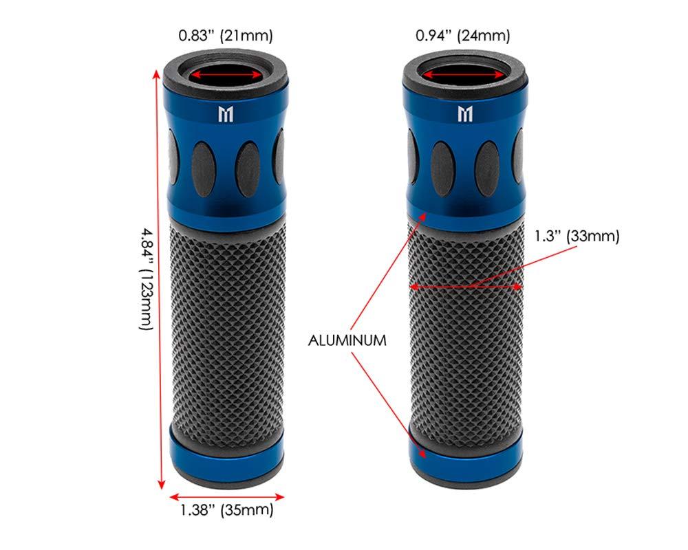 Hochwertig Motorrad Griffe f/ür 22mm Stangen Blau Eloxiertes Aluminium
