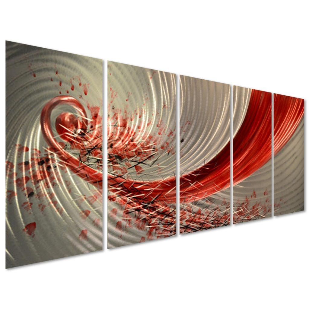 Amazon.com Pure Art Red Explosion Metal Wall Art - Large Abstract Set of 5 Panels u2013 Modern Hanging Sculpture u2013 Enhancing Artwork for Home or Office ...  sc 1 st  Amazon.com & Amazon.com: Pure Art Red Explosion Metal Wall Art - Large Abstract ...