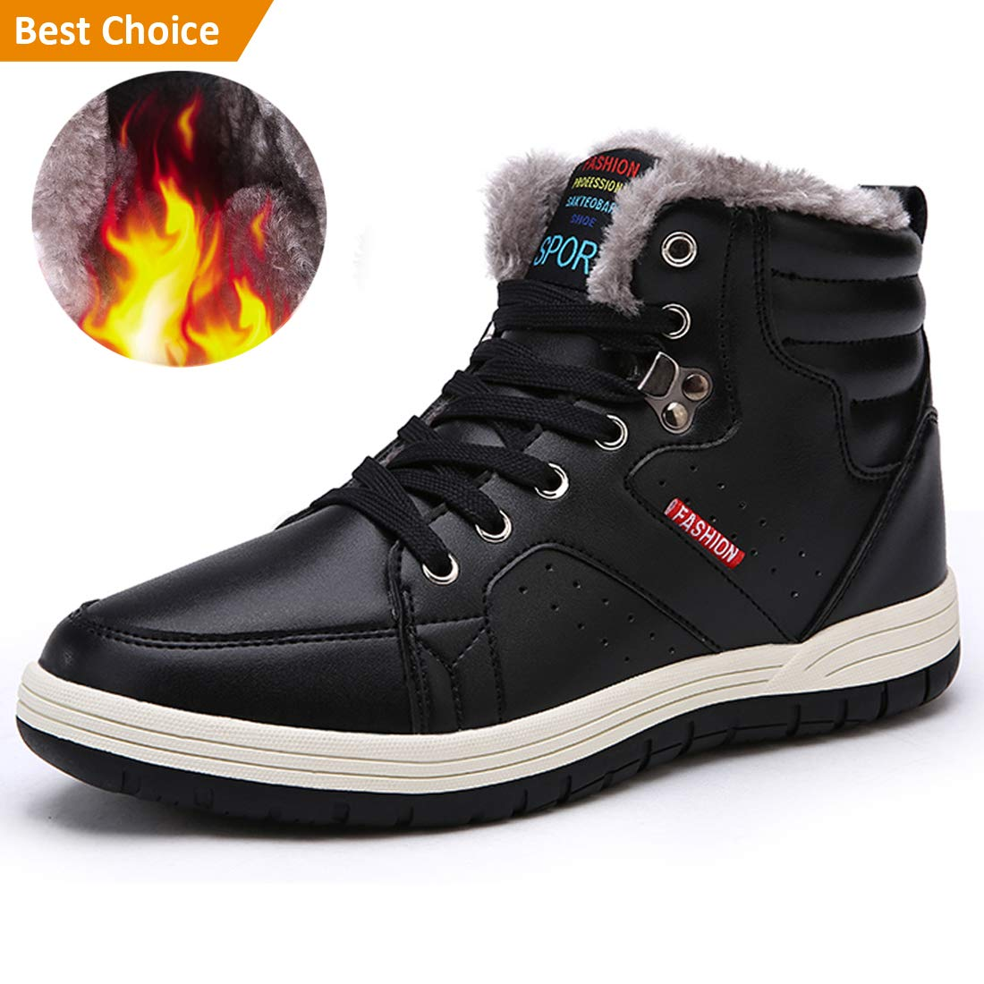 Ceyue Mens Leather Snow Boots Lace Up Ankle Sneakers High Top Winter Shoes with Fur Lining Boots081801