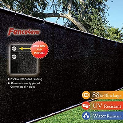 Fence4ever 4' x 50' 3rd Gen Black Fence Privacy Screen Windscreen Shade Fabric Mesh Tarp (Aluminum Grommets) by fence4ever
