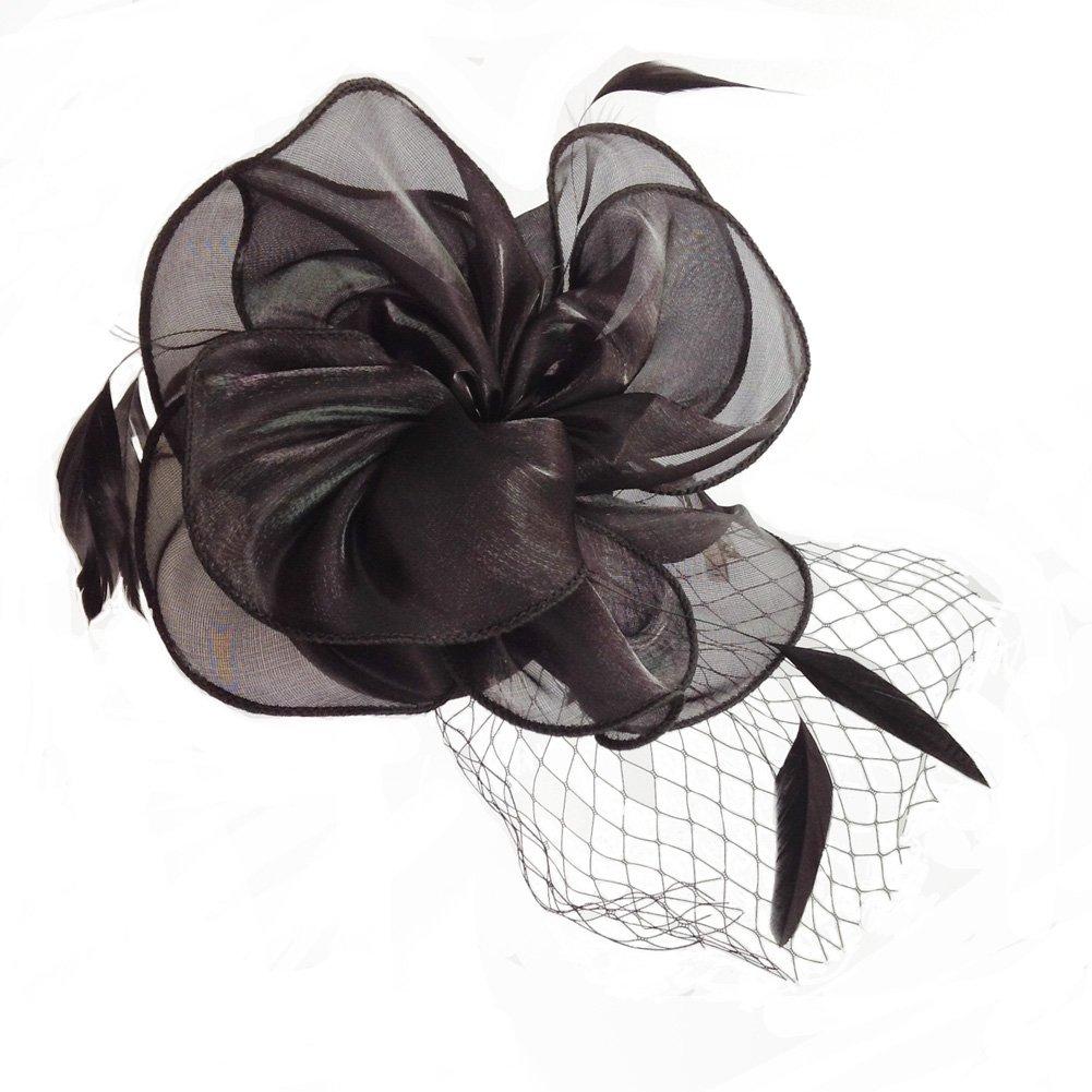 Black50 MYCHARM Women Feather Mesh Net Fascinator Hat Hair Clip Cocktail Derby Race Royal Ascot