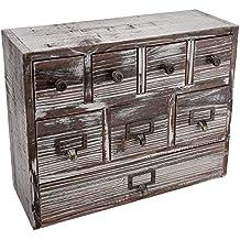 13-Inch Weathered Whitewashed Brown Wood Desktop Organizer, 8 Drawer Jewelry & Craft Supplies Cabinet