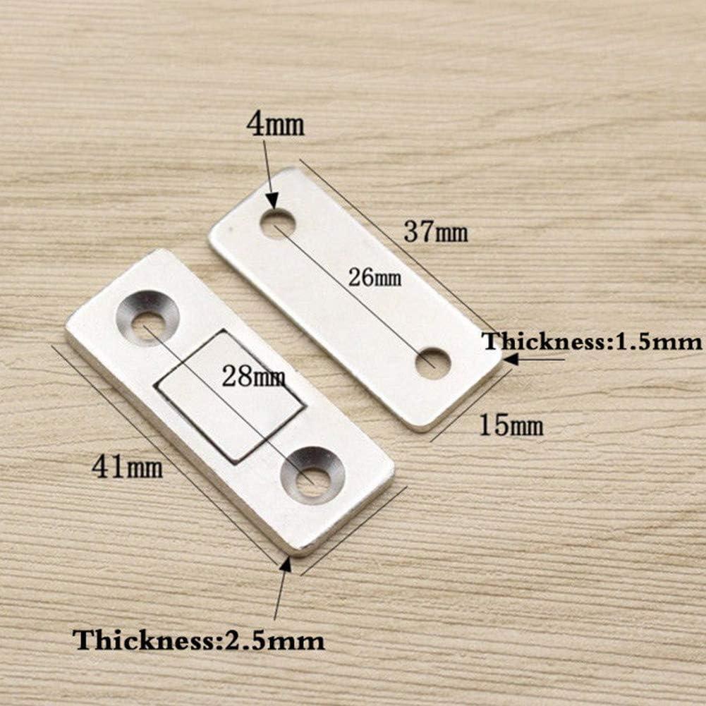 ultrad/ünn robust Schrank Free Size Silber mit Schrauben Tookie Mini-Magnet-Schiebet/ürriegel f/ür M/öbel Schrank 2 St/ück
