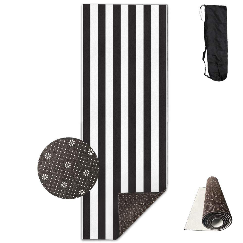 Bghnifs Black & White Stripe Printed Design Yoga Mat Extra Thick Exercise & Fitness Mat Fit Yoga,Pilates,Core Exercises,Floor Exercises,Floor Exercises