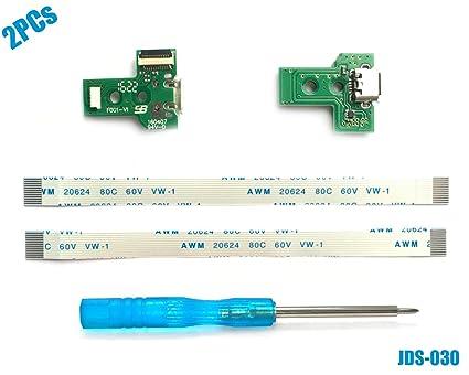 2PCs JDS-030 Tarjeta de Puerto de Carga Micro USB para Mando PS4, Replacement Placa de Conectores de Carga Adaptador con Flex Cable para Controlador ...