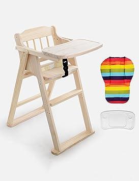 XWZ Silla de comedor de niños de madera maciza Baby Dinette Silla de comedor plegable de ...