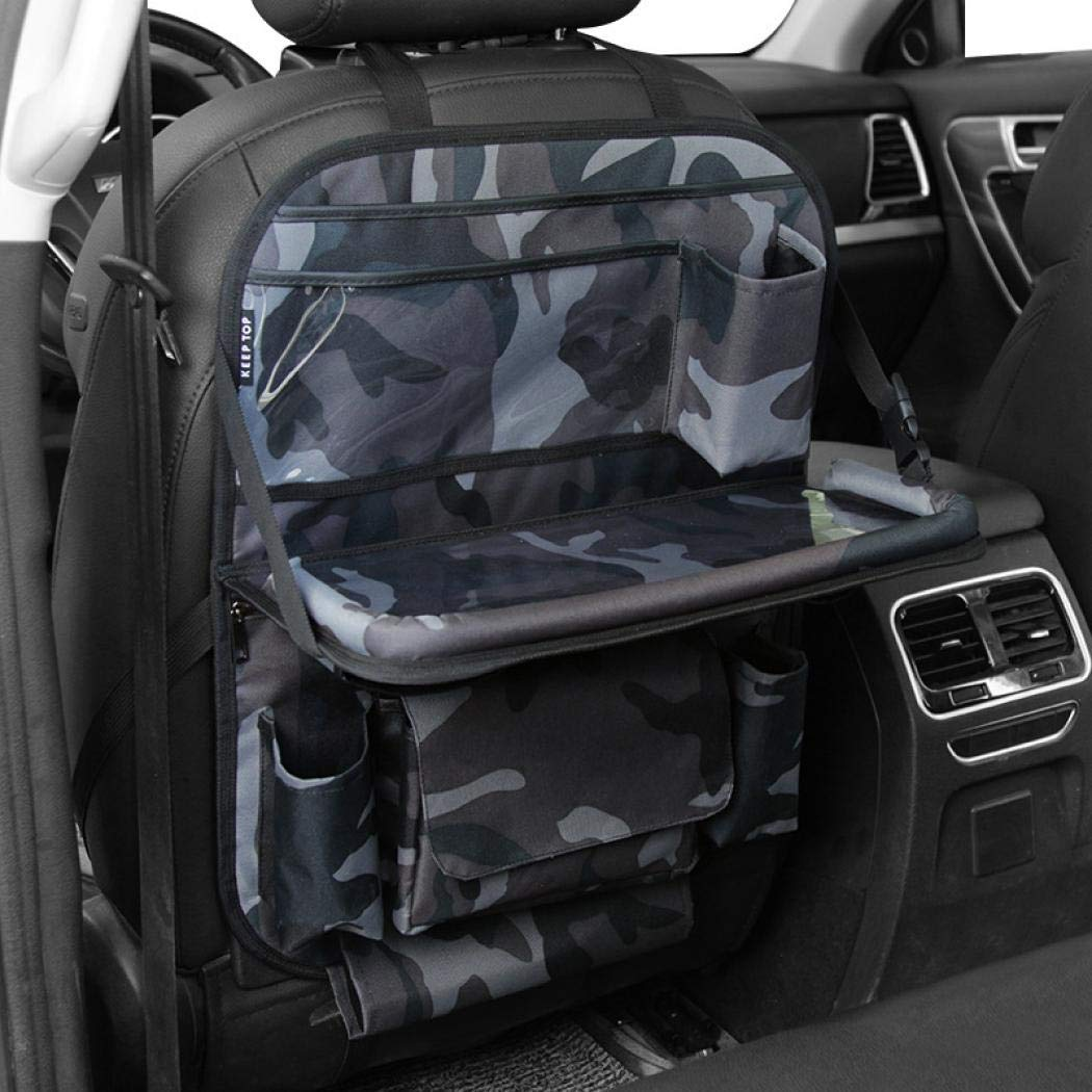 Car Seat Back Organizer,Car Organizer for Kids Toy Bottles Storage Foldable Dining Table Clear Tablet Holder Family Road Trip Accessories (Forest camouflage) by SCHANIN (Image #1)