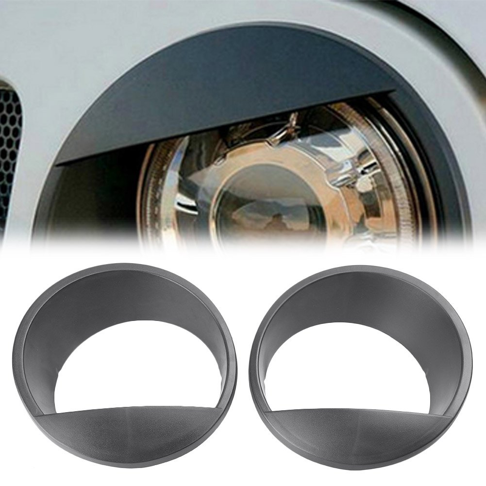 Timmart Black Front Headlight ABS Trim Cover Angry Bird Eyes Style Bezels for 2007-2017 Jeep Wrangler Rubicon Sahara Sport JK JKU 2 & 4 Door Models