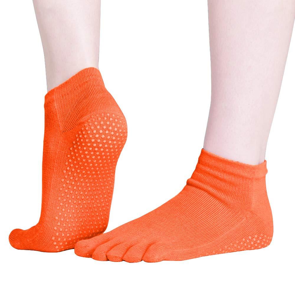 FORLADY Professional Yoga Socks Finger//Finger//Backless//Road Heel//Yoga Slip Back Five-Finger Calcetines de yoga Calcetines de baile