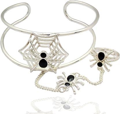 Q & Q moda raro negro esmaltado araña & Web Telaraña cadena mano ...