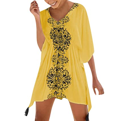 5724f6e289 Amazon.com: Women's Dress Summer Sexy Off Shoulder Lace Shift Dress Lady  Half Sleeve Printed Swimsuit Beach Cover Up Dress Maoyou(Yellow,Free Size):  Garden ...