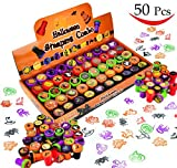 50 Pieces Halloween Assorted Stamps Kids Self-Ink Stamps (25 DIFFERENT Designs, Plastic Stamps, Trick Or Treat Stamps, Spooky Stamps) for Halloween Party Favors, School Prizes, Halloween Goodies