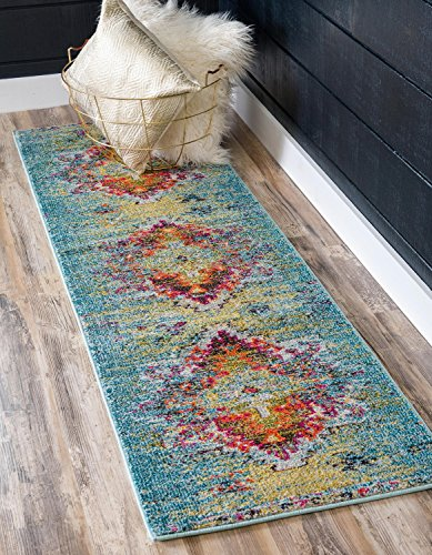 Unique Loom Vita Collection Traditional Over-Dyed Vintage Turquoise Runner Rug (2' 7 x 10' 0) (Turquoise Stair Carpet)