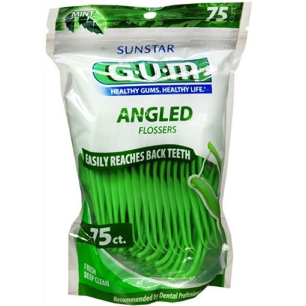 GUM Angled Flossers Fresh Mint 75 Each ( Pack of 18)