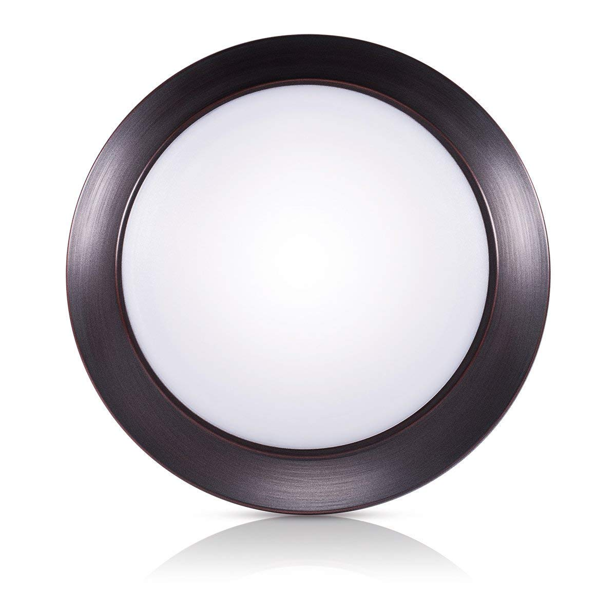 SOLLA 7.5 Inch Dimmable LED Disk Light Flush Mount Ceiling Fixture with ETL FCC Listed, 950LM, 15W (90W Equiv.), Natural White, 4000K, Bronze Finish, Ultra-Thin, Round LED Light for Home, Hotel,Office