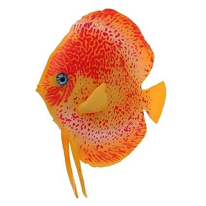 XCXpj - Decoración para pecera, diseño de Peces Tropicales con Efecto Brillante, Color Naranja