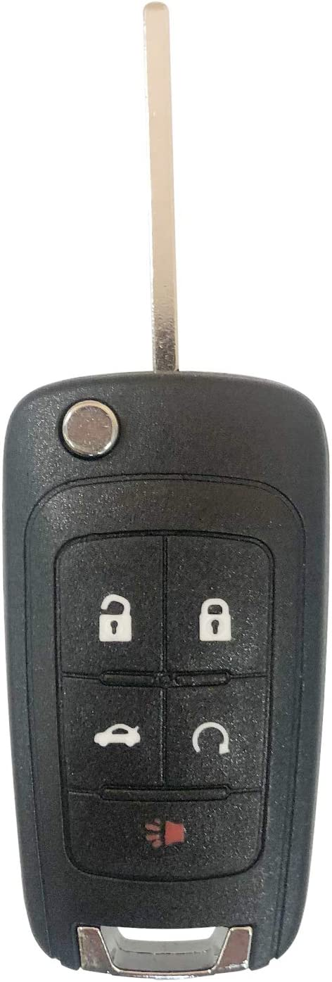 SINGLE New Uncut Flip Key 5 Button Remote Start Keyless Entry Transmitter Fob For OHT01060512;by AUTO KEY MAX