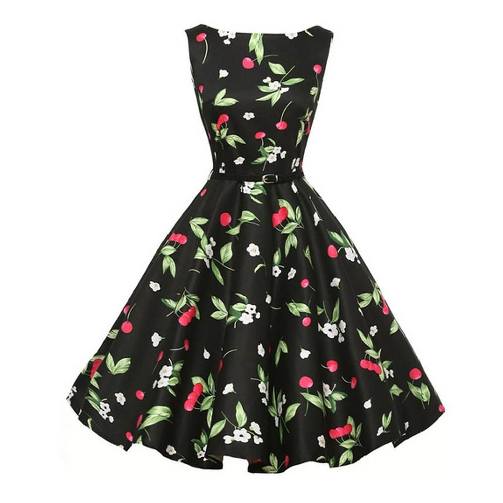 Clearance! 50S 60S Vintage Dresses Sleeveless for Women Casual Pleated Print Prom Swing with Sashes Dresses for Summer