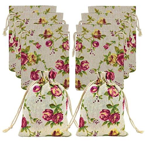 - Ancefine 30 Pack Rose Linen Drawstring Bag Floral Burlap Gift Pouch Bag for DIY Craft Wedding Party Favor Decoration