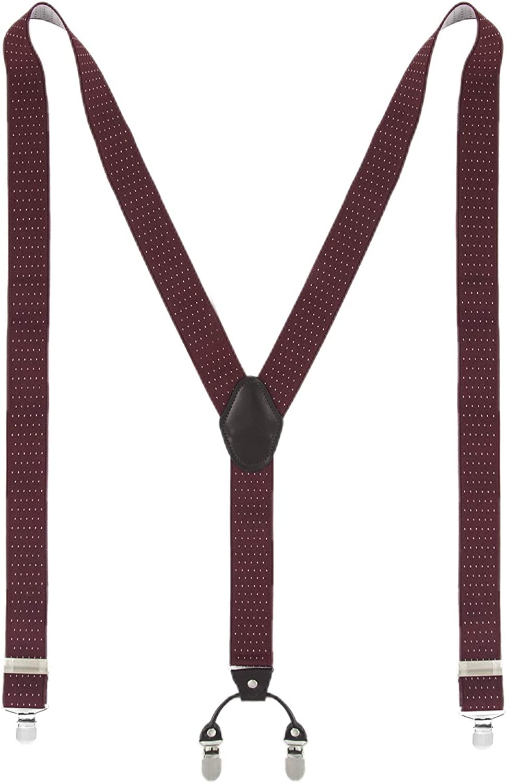 1 Year Warranty Mens Braces MLM Braces for Men Heavy Duty 4 Clips Wide 1.4 Y-Back Elastic Durable Suspenders wihth Strong Metal Clips