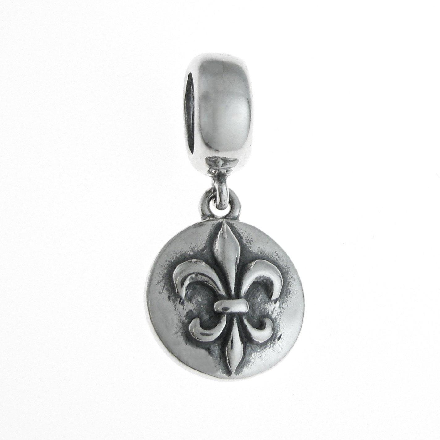 925/sterling Silver Round fleur-de-lis Flower Scout pendenti per braccialetti europei