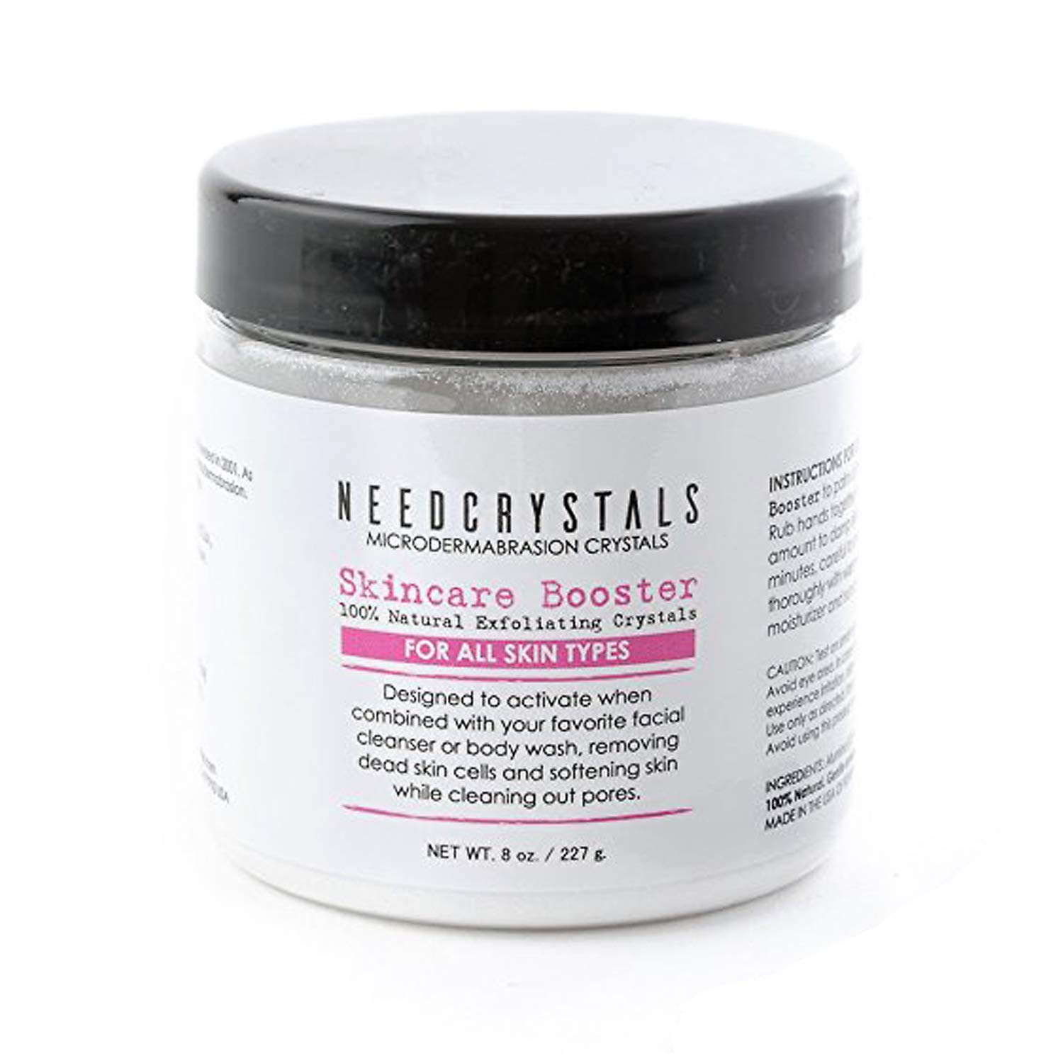NeedCrystals Microdermabrasion Crystals, DIY Face Scrub. Natural Facial Exfoliator for Dull or Dry Skin Improves Acne Scars, Blackheads, Pore Size, Wrinkles, Blemishes & Skin Texture. 4 oz 4OZWAO120