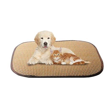 Aolvo - Alfombra refrescante para mascotas, ideal para descansar o dormir, de ratán natural