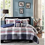 5 Piece Casual Plaid Pattern Full/Queen Size Comforter Set, Tattersall Tartan Geometric Lines Classic Printed Checkered Design Bedding, Stylish Modern Lodge Cozy Teenage Bedroom, Blue, Red, Grey