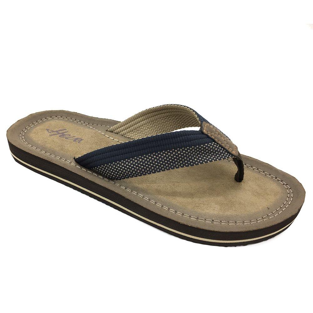 FUNKYMONKEY Men's Flip-Flop Arch Support Lightweight Thongs Sandals (10 D(M) US/EU 43, Brown)