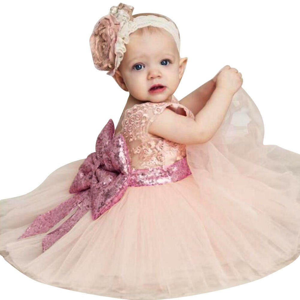 Summer Baby Girls Birthday Wedding Party Princess Sequin Bowknot Dress with Headband