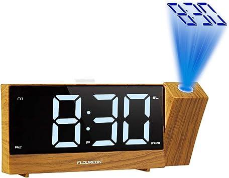 FLOUREON Reloj Despertador de Proyección, Reloj de Alarma dual de ...