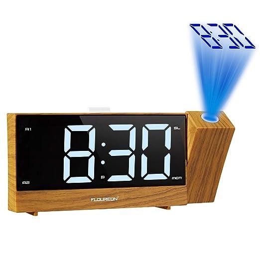 floureon Reloj Radio Despertador de Proyección, Reloj de Alarma Dual de FM Radio Digital, LED Pantalla Grande, Función Snooze, Temporizador de ...
