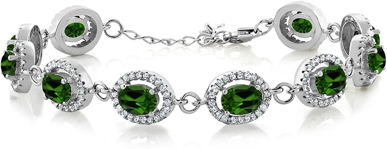925 Sterling Silver Platinum Over Chrome Diopside Diamond Promise Ring Gift Ct 3